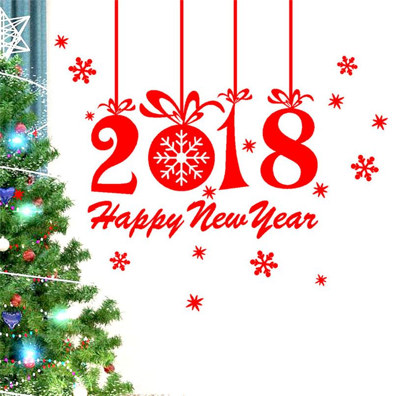 New Year 2018 Merry Christmas Wall Sticker Home Shop Windows Decals - wholesale christmas decor