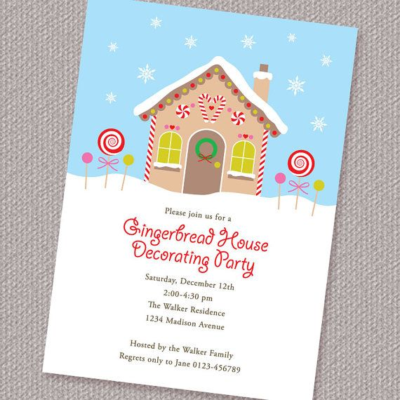 Gingerbread House Decorating Party Invitation Diy Printable