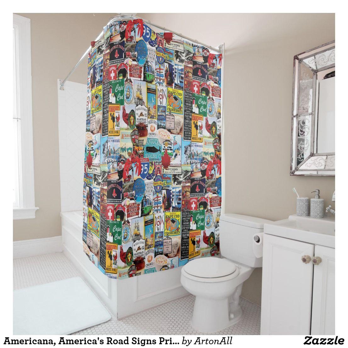Americana, America\'s Road Signs Print Shower Curtain | Bath:Shower ...