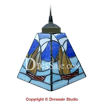 Blue mini pendant light stained glass tiffany style sailboat lamp blue mini pendant light stained glass tiffany style sailboat lamp aloadofball Images