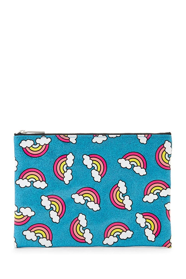 This medium-sized makeup pouch features an allover glittery print with rainbows and a zipper top closure.