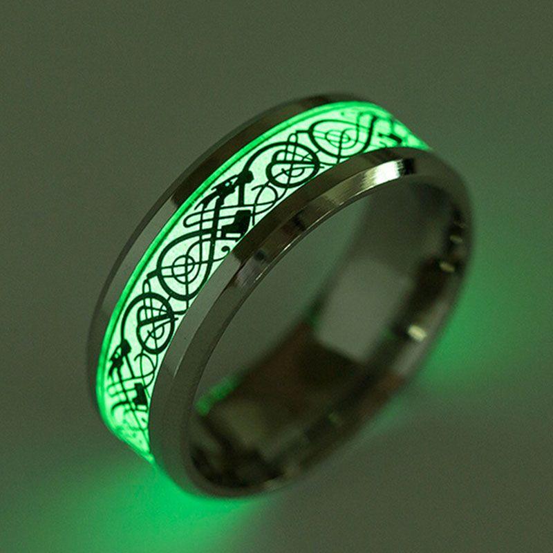 9c4de5c45045e Caxybb Men's Ring Shining dragon Ring for Men's Women's Stainless ...