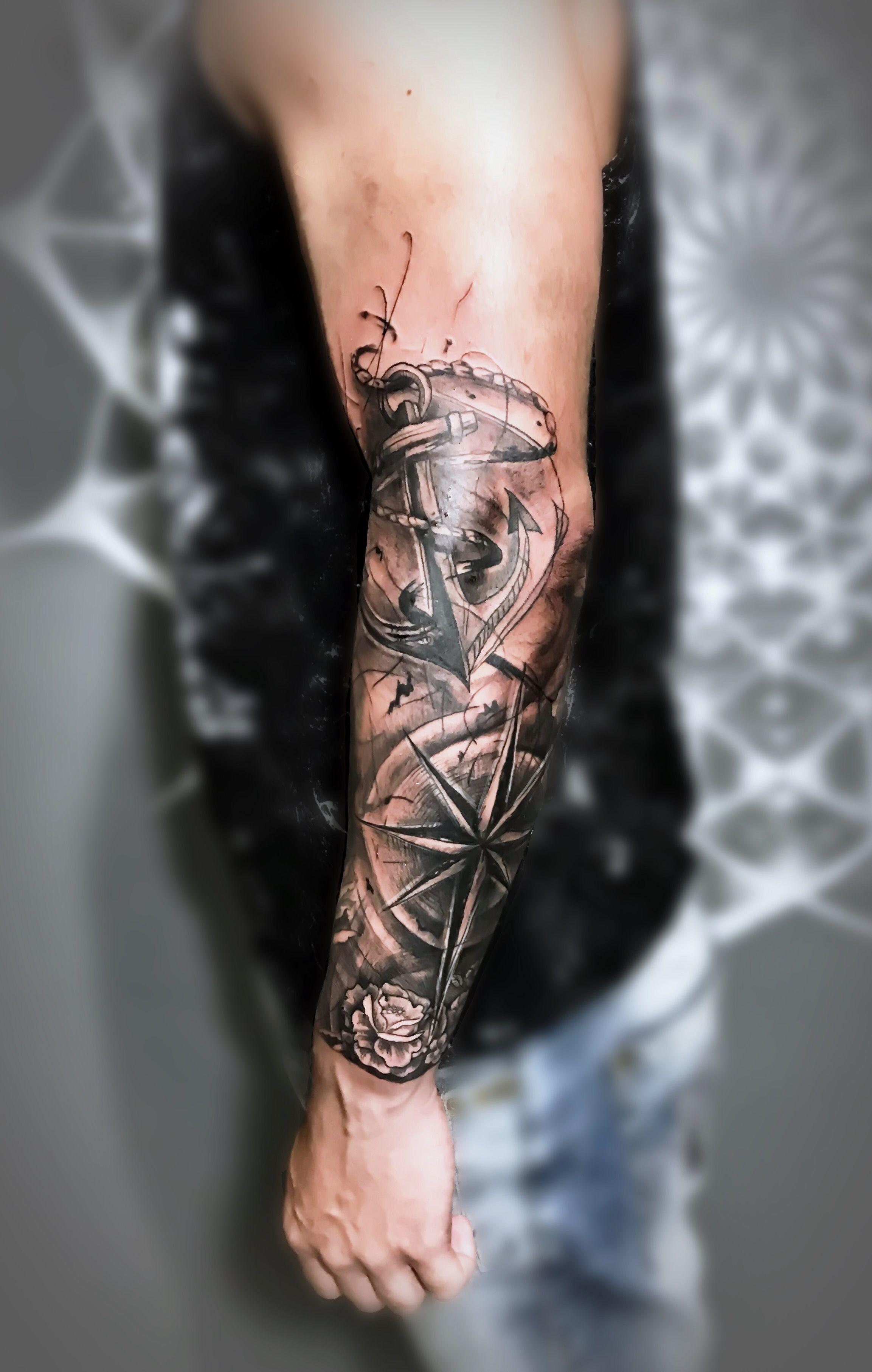 Ancla Con Estrella Tattoos Forarm Tattoos Anchor Tattoos Leg