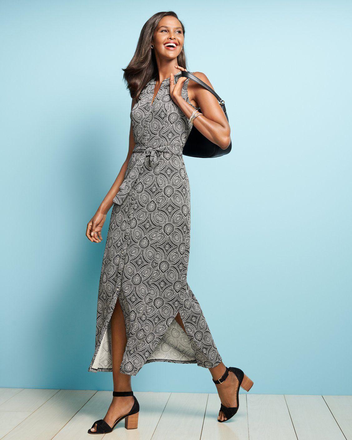 The Medallion Print Jersey Maxi Dress Talbots Work Wear Casual Work Dresses Maxi Knit Dress Business Attire Women [ 1410 x 1128 Pixel ]