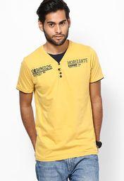 999 KILLER Yellow Solid V-Neck T Shirt