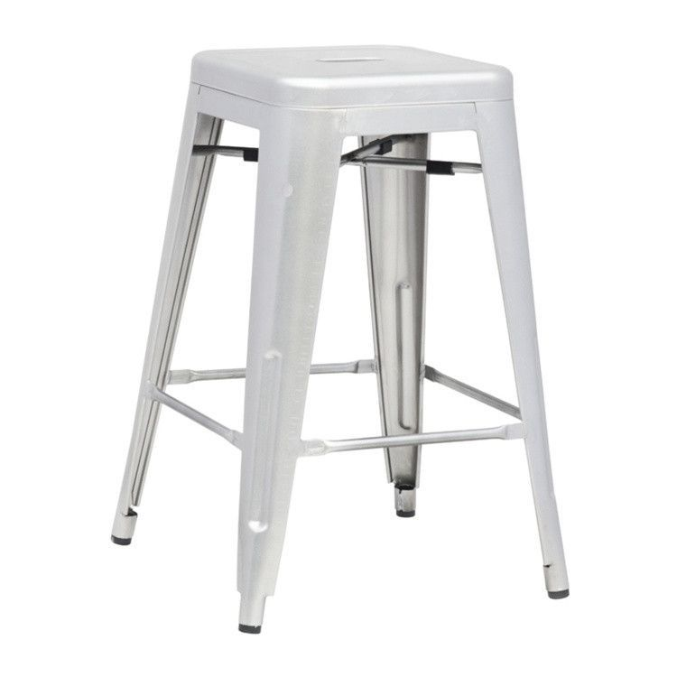 Tolix Style Counter Stool Galvanized Steel Silver