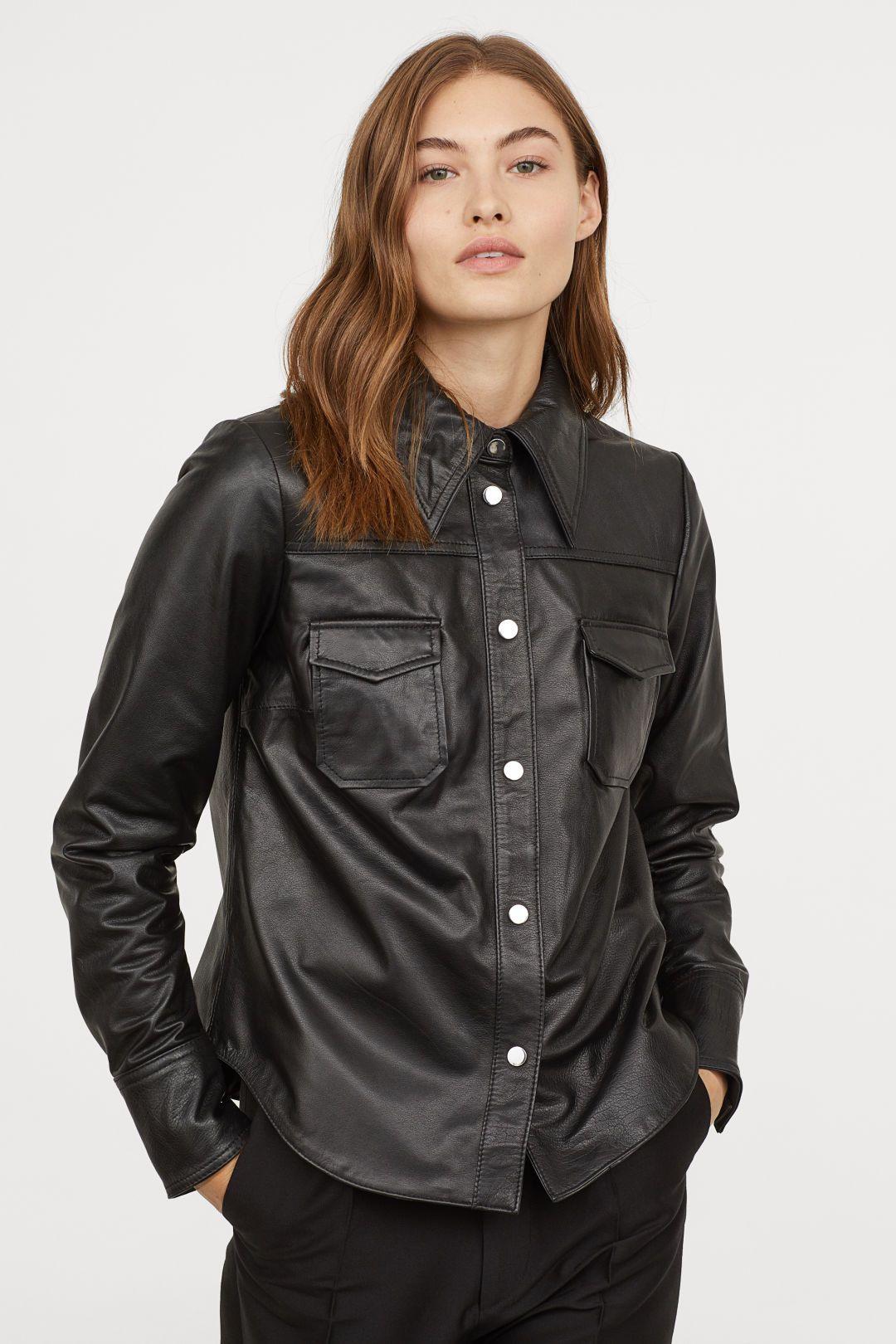 52191cddb997c08 Кожаная рубашка   H&M   Манжеты, Женщина, Черный