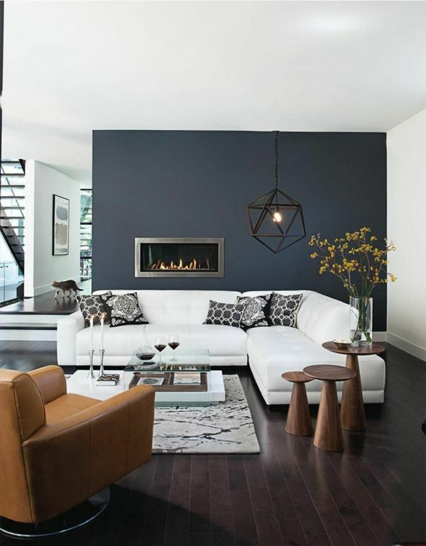 Fantastisch Einrichtungsideen Wohnzimmer Brauner Sessel Hocker