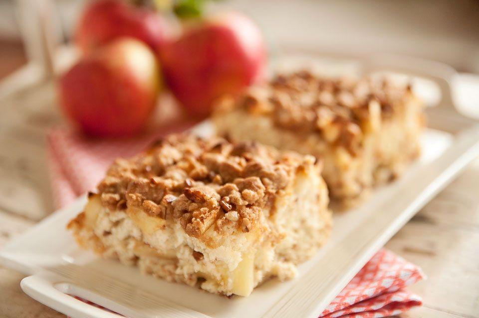 Apple cinnamon streusel coffee cake starts with a box