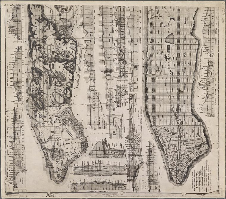 Geologic map and sections of Manhattan Island State of New York
