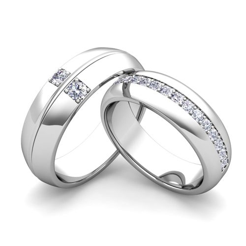 Build Comfort Fit Wedding Bands For Him And Her With Diamonds And Gemstones Build Your Own Matchin Cool Wedding Rings Wedding Ring Sets Matching Wedding Rings