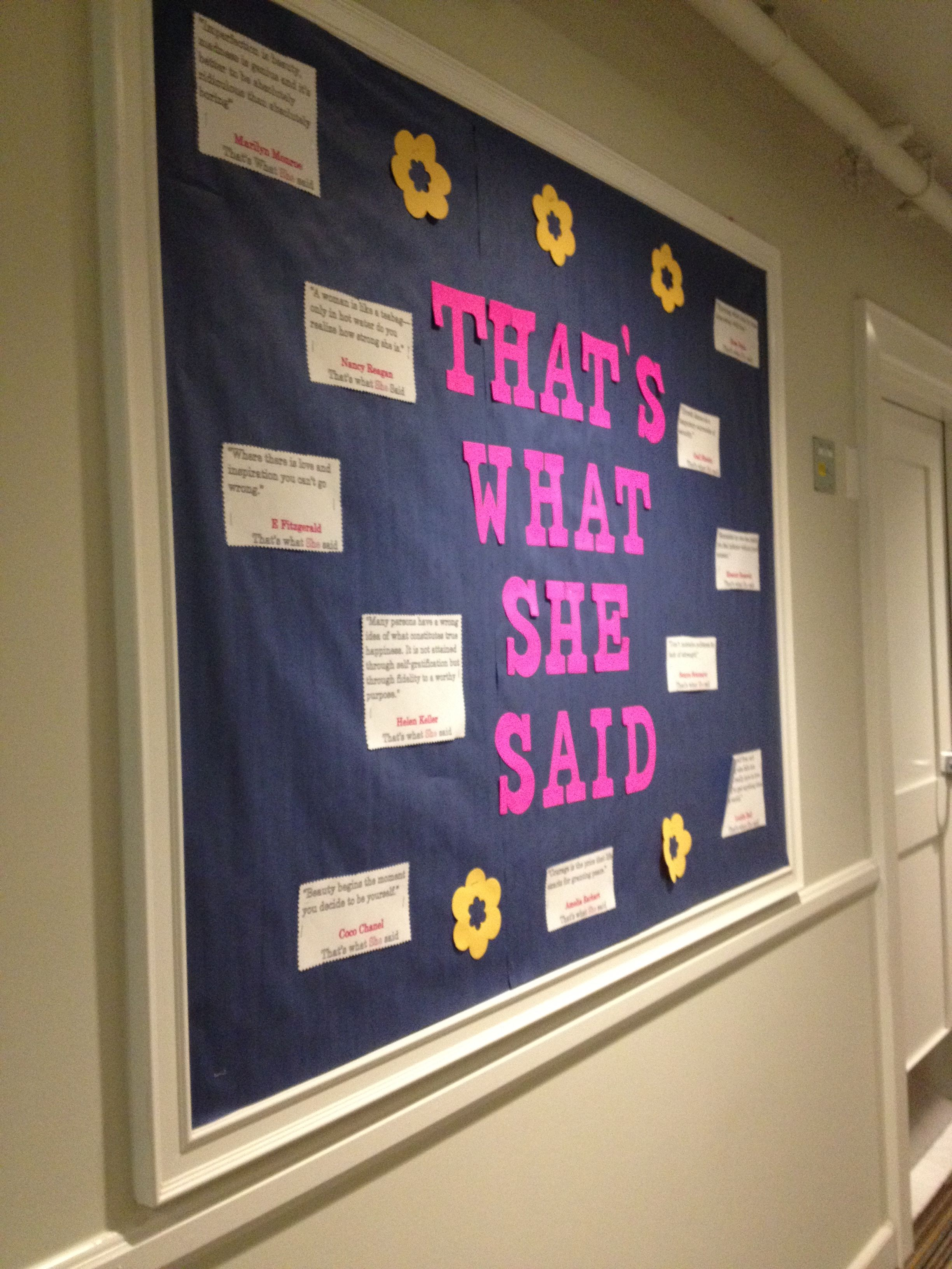 that s what she said bulletin board empowering quotes by that s what she said bulletin board empowering quotes by women ra bulletin board for advisor residenceresidence