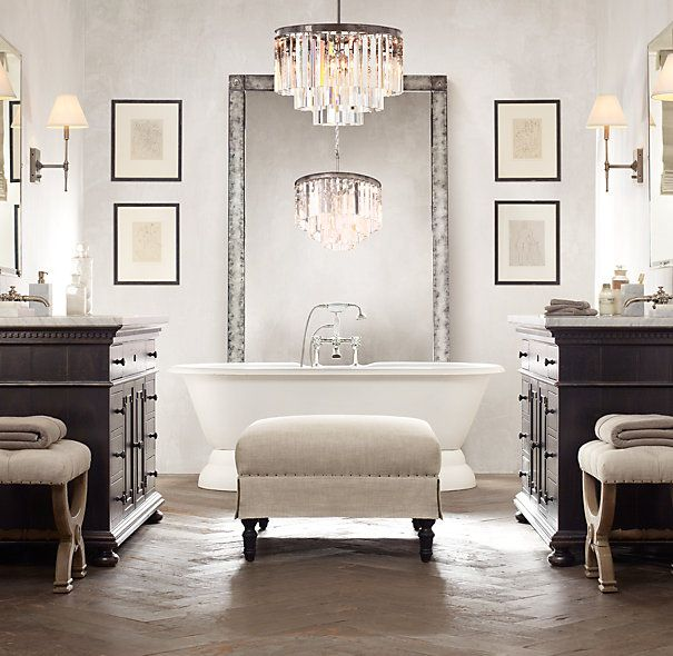Antiqued Leaner Mirror From Restoration Hardware Mixed With Glam And Modern Styling For The Bathroom