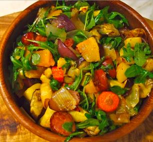 Ristet aubergine  -  gresskar  -  gulrot  -  pastinakk  - vanlig løk  -  rødløk  -  hvitløk  - olivenolje  -  krydder
