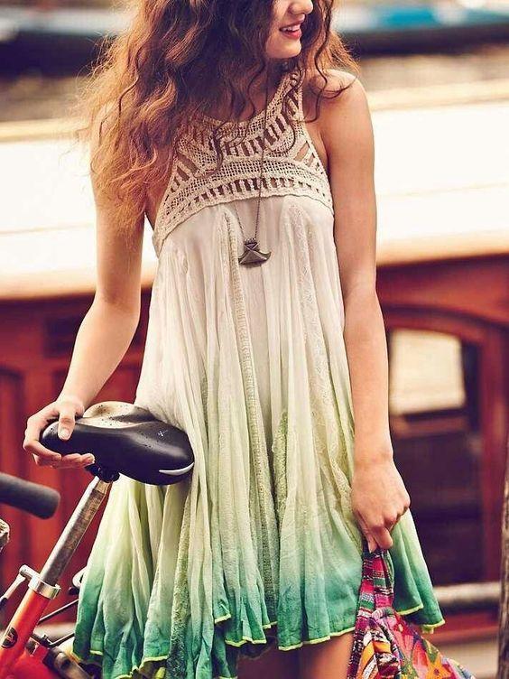Vestidos de playa combinados en tela y crochet – Útiles de Mujer ... 53f2c09b791