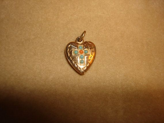 Victorian Gold Filled Puffy HEART w/ by PastPossessionsOnly, $39.95