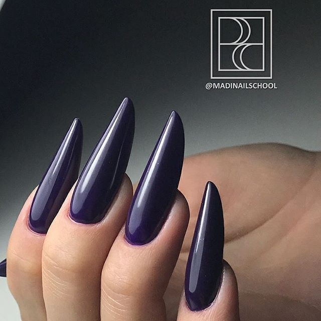 Russian almond shaping in dark blue! Beautiful nails by ...