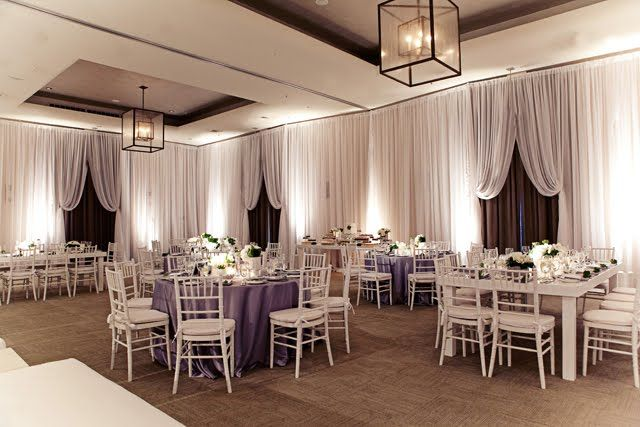 Purple Linens White Chairs Awesome Draping Modern Wedding