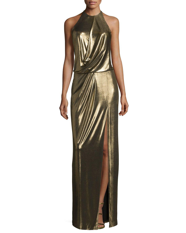 Metallic Halter Column Gown, Bronze   Products