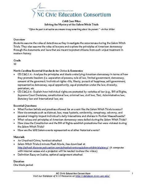 Cold Case File Solving The Mystery Of Salem Witch Trial 5th 10th Grade Lesson Plan Planet College Essay On Trials