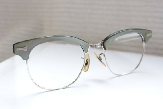 fe0aa5cb3f 60s Eyeglasses 1960s Metal Glasses Browline Combination Frame Silver ...