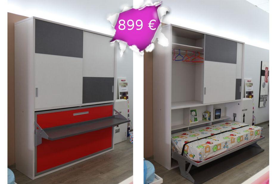 Cama abatible horizontal con escritorio para colchón de 90x190cm ...