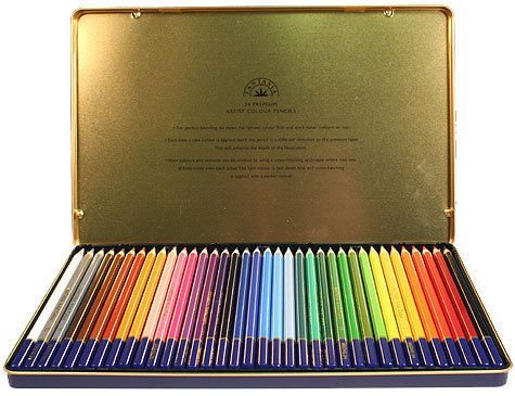 36 Fantasia Colored Pencils In Tin Storage Case For Art Drawing