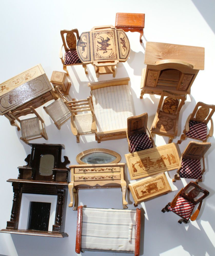 Vintage Dollhouse Furniture For Sale Part - 39: Estate Sale Lot Dollhouse Miniature Furniture*20 Pieces*Wood/Various  Finishes/EU