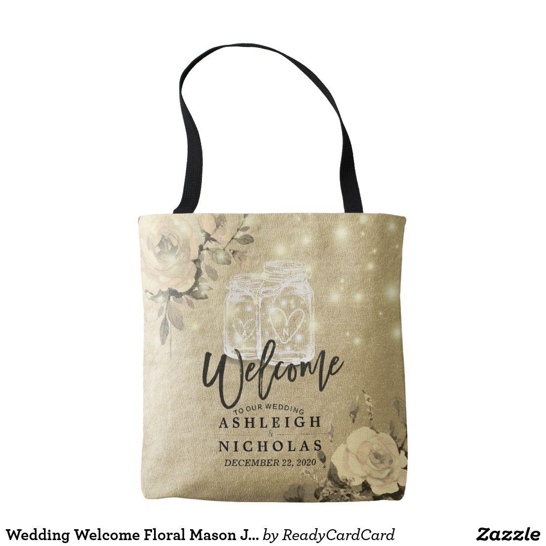 Wedding Welcome Floral Mason Jar String Light Gold Tote Bag Wedding ...