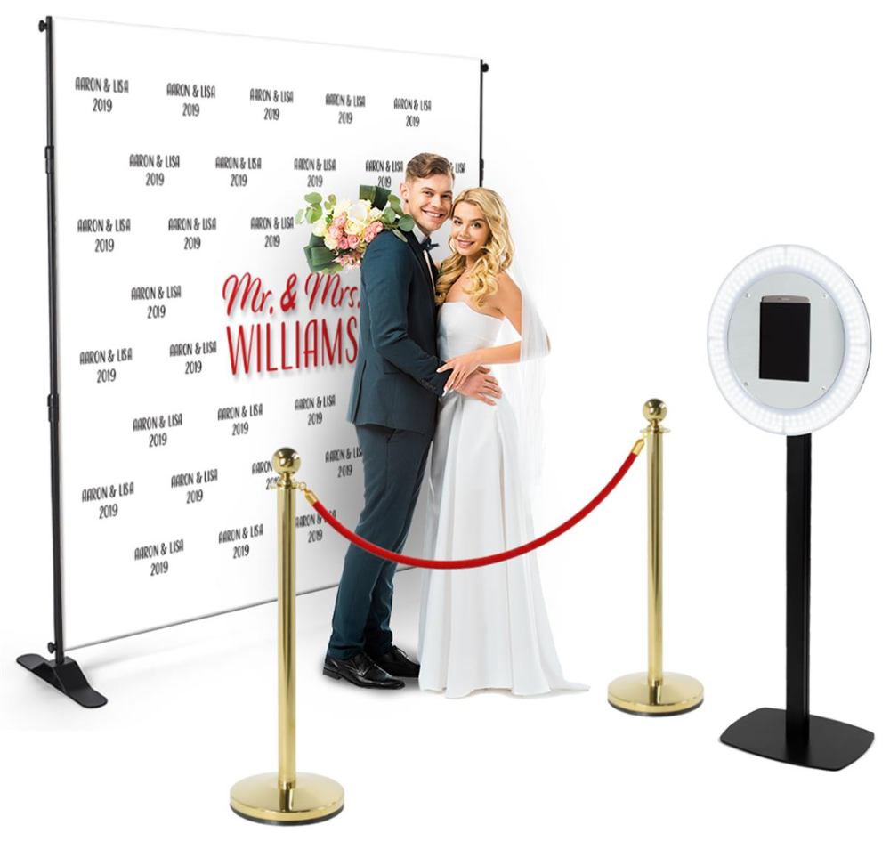 10x10 Trade Show Booth Kit W Step And Repeat Backdrop 2 Stanchions Selfie Station In 2020 Photo Booth Kit Custom Vinyl Banners Picture Stand