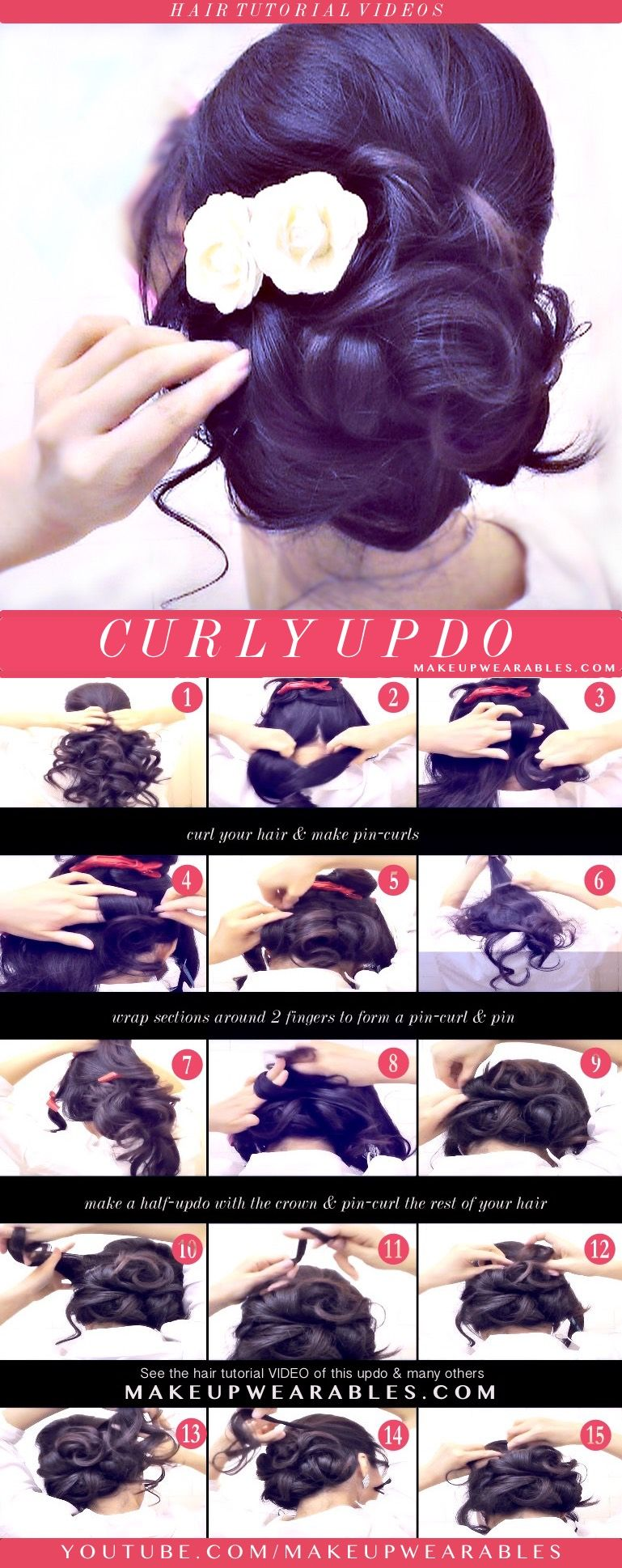 How to easy updo with curls hairstyles cute hair tutorial hair