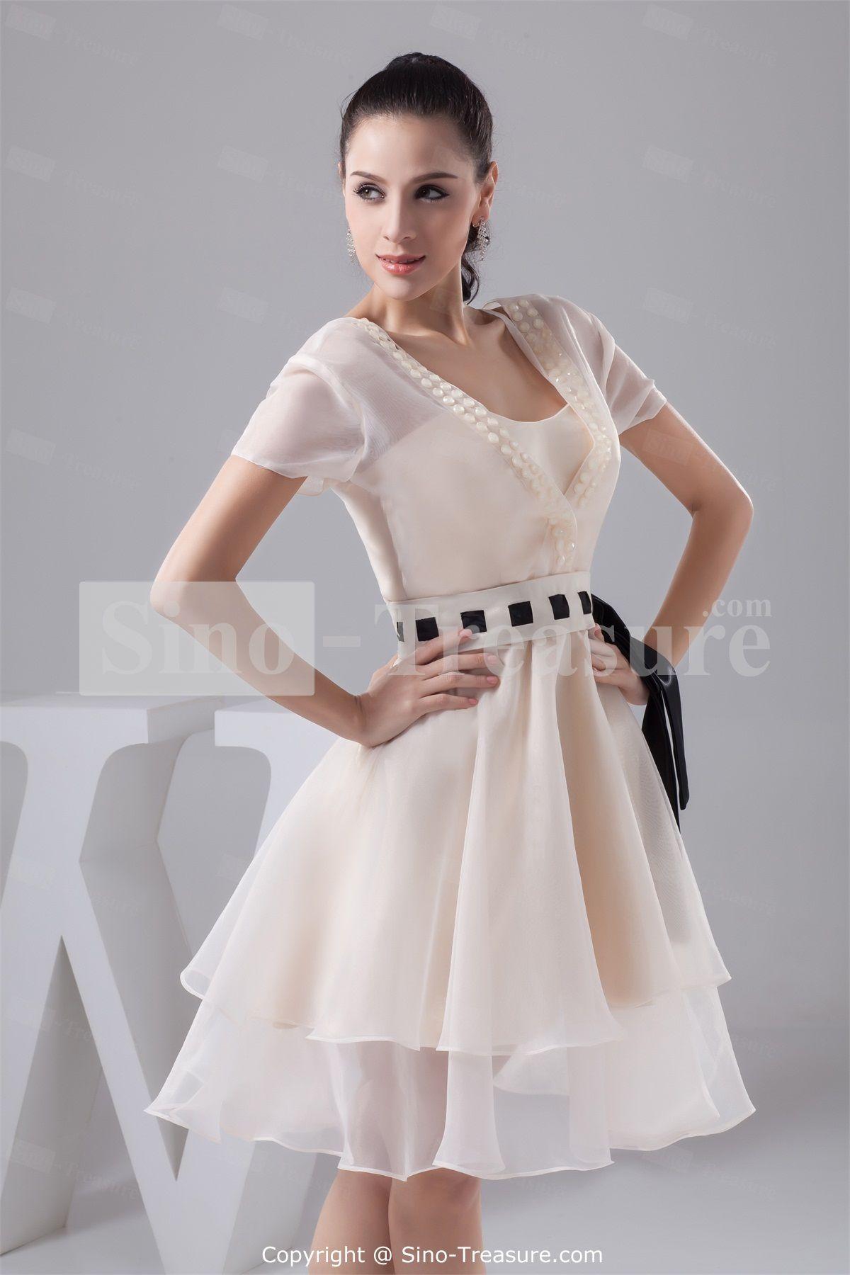 Snow satin vneck short sleeves aline beading belt bridesmaid