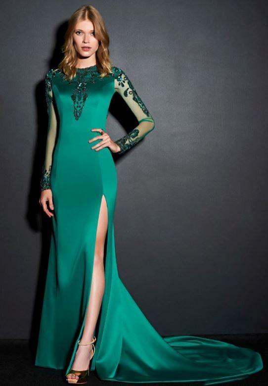 Vestido veludo verde manga longa