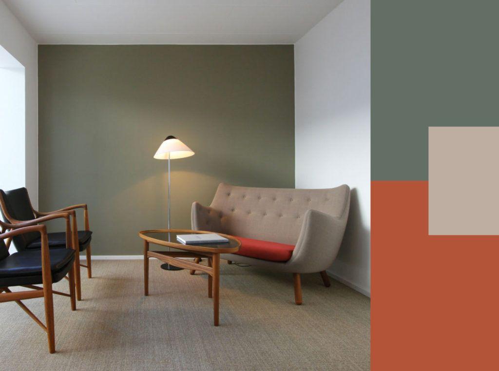 arredare le pareti con il colore: il verde oliva e i suoi ... - Soggiorno Pareti Azzurre