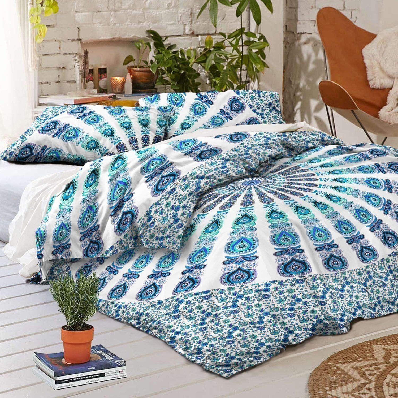 Ombre Indian Mandala Bedding Set Throw Boho Hippie Bohemian throw Bed Sheet Deco