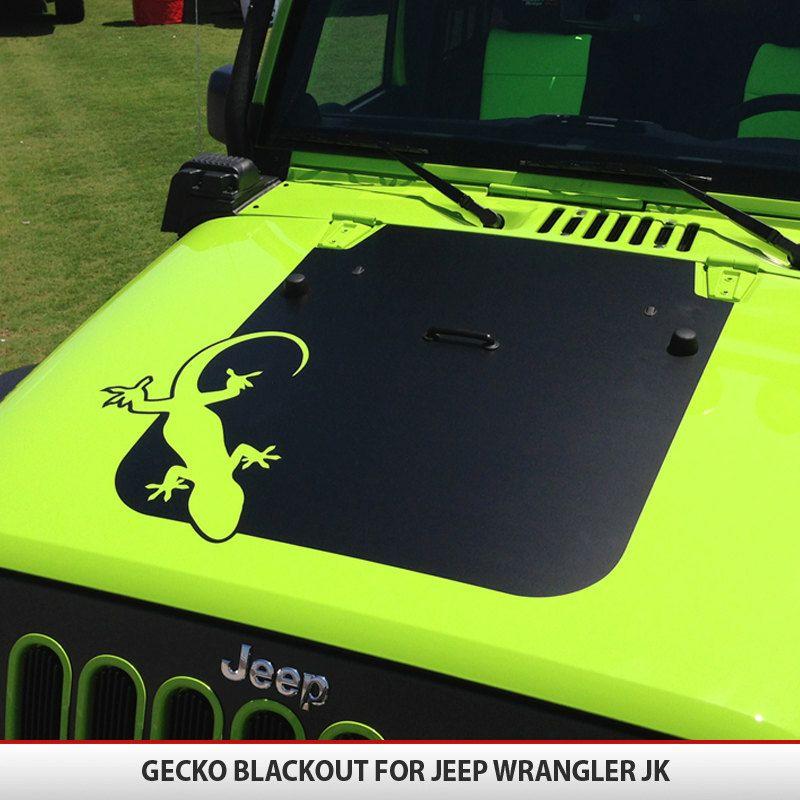 Custom Gecko Jeep Wrangler JK Hood Blackout Decal By AlphaVinyl - Custom vinyl hood decals