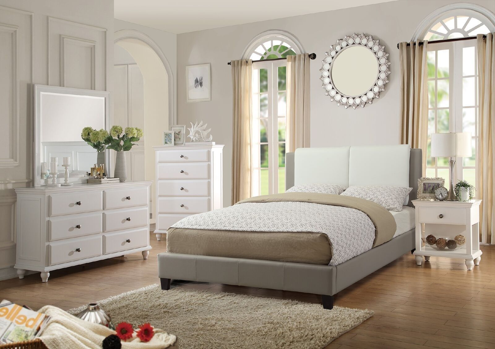 bedroom modern white faux leather 4pc bedroom set bed dresser mirror