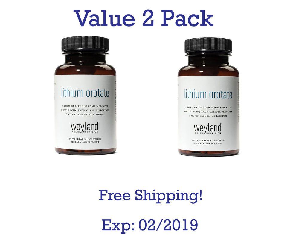 Weyland: Lithium Orotate - 5mg of Elemental Lithium per Vegetarian Capsule 2 pk