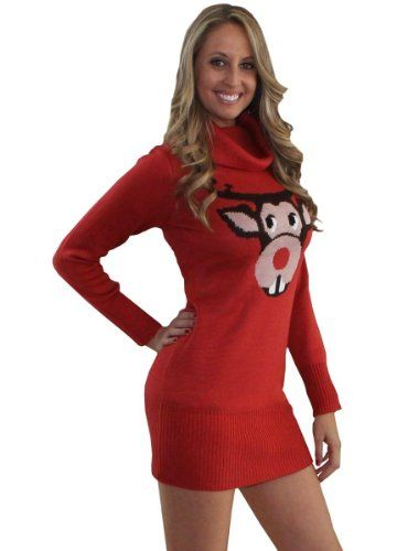 2123ffc0ea8 Amazon.com  Ugly Christmas Sweater Dress- Bucktooth Rudolph Sweater Dress  by Tipsy Elves  Clothing