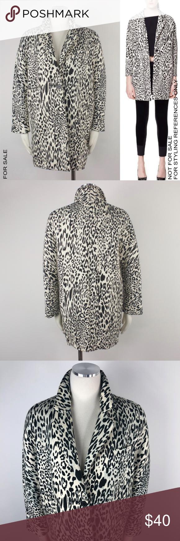 d44eea35ad9c Zara White Leopard Print Oversize Car Coat Black M Zara Women's Jacket  Cotton White Leopard Cheetah Print Blazer Black Beige Car Oversized Long  Sleeve ...