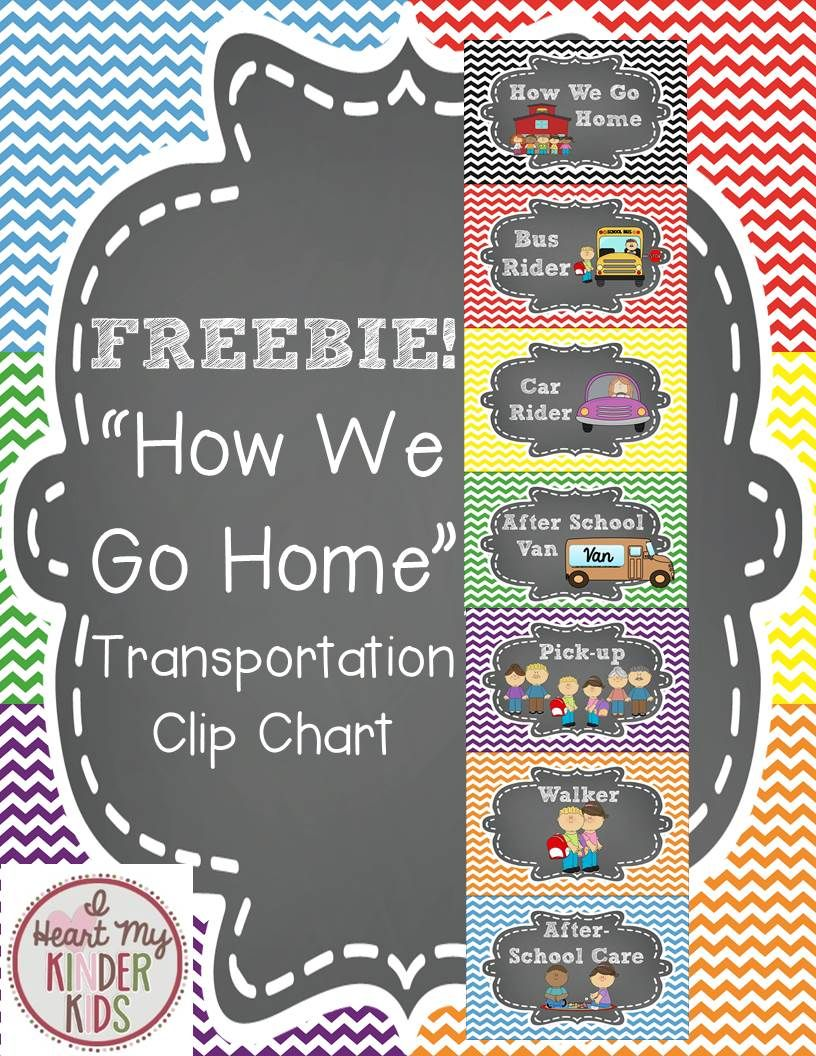 Transportation Clip Chart in Chalkboard and Chevron