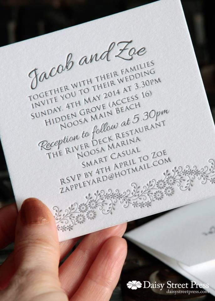 Sweet smaller format invitation for Summer wedding    www - format for invitation