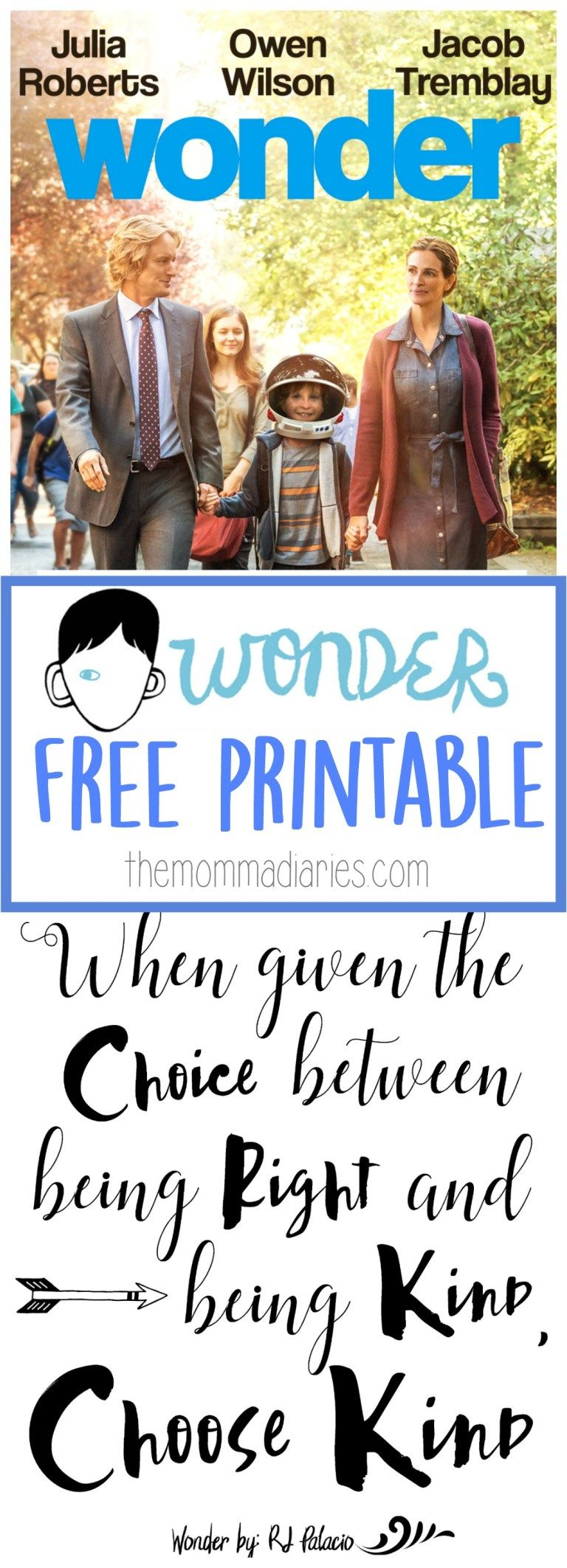 Choose Kind With Wonder The Movie Free Printable Wonder Quotes