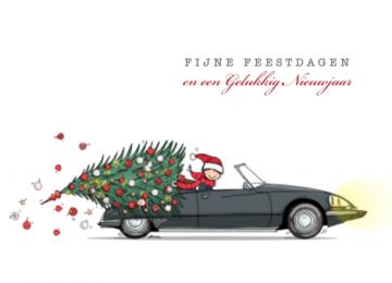 Kerstkaart Citroen Ds Cabrio Met Kerstboom Citroen Ds Kerst Kaarten Kerstboom
