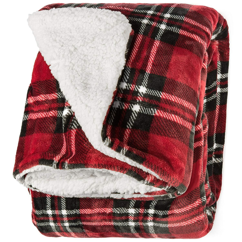 "FIELD /& STREAM Cozy Buffalo Sherpa Blanket Red and Black 50/"" x 60/"" Brand new"