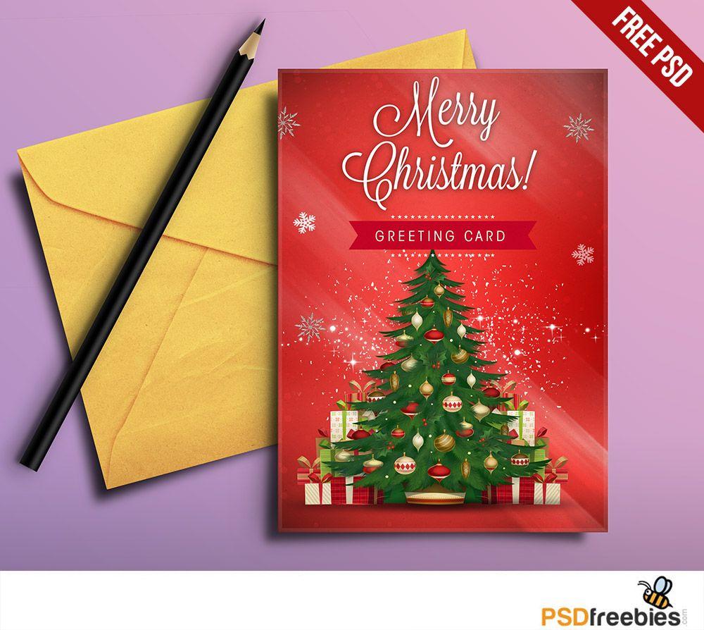 Christmas Greeting Card Free Psd Pinterest Greeting Card