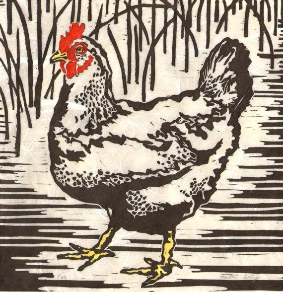 Soviet Vintage Color Linocut Cockerel and Bean Seed Original Russian folk tale illustration