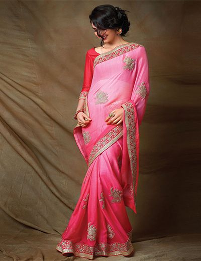 Shaded pink saree for wedding