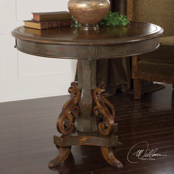 Anya Round Table 32d X 28h Hand Painted Charcoal Gray And Rubbed Through To Natural Wood Grain