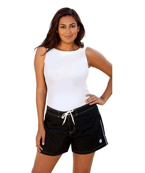 cute plus size black and white cheap swim shorts for juniors